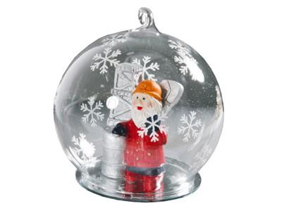 Елочная игрушка в виде шара с дедом Морозом-нефтяником