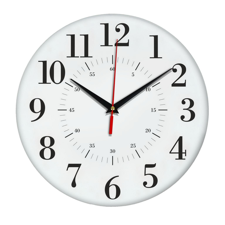Настенные белые часы с разделениями на минуты