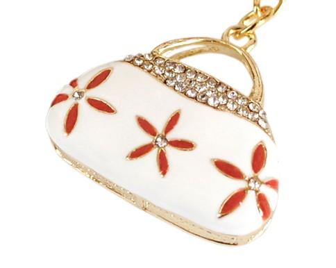 Флешка Сумочка белая с цветами на 32 гб