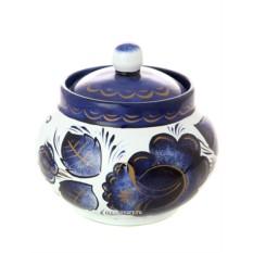 Керамическая сахарница с ручной росписью Гжель