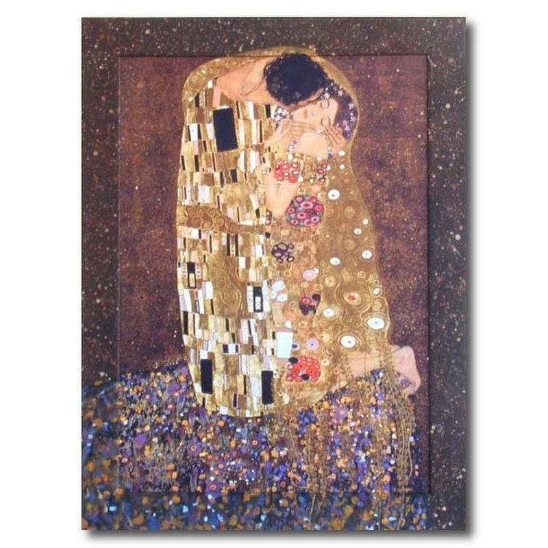 Репродукция с подрисовкой на раме Поцелуй (Густав Климт)
