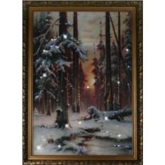 Картина с кристаллами Swarovski Зимний закат в еловом лесу