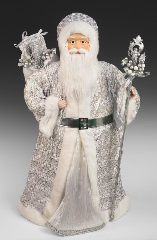 Игрушка Дед Мороз в бело-серебряной шубе