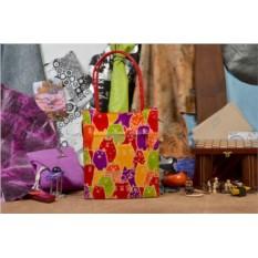 Кожаная женская сумка Разноцветные кошки
