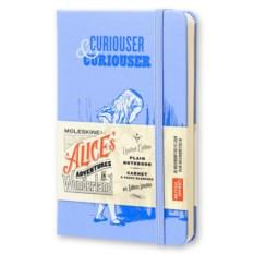 Голубая нелинованная записная книжка Алиса в зазеркалье