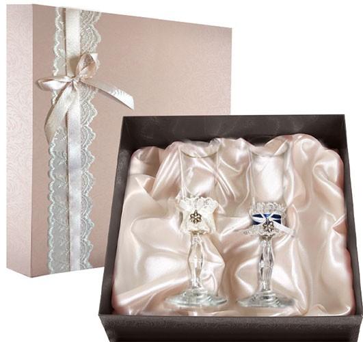 Набор свадебных бокалов в подарочной коробке Ретро №12