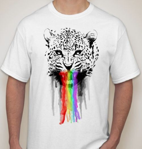 Мужская футболка Леопард, радуга