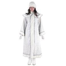 Длинный белый костюм Снегурочки с пелериной
