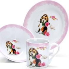 Набор детской посуды 3 предмета Собачка с розой