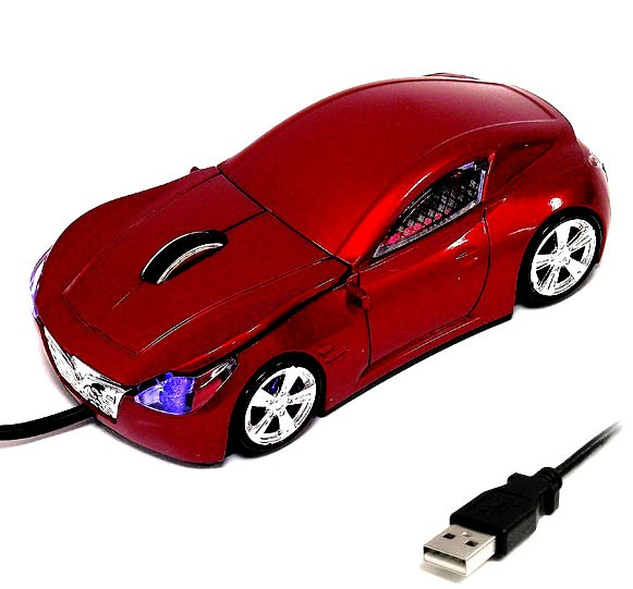 Компьютерная мышка в виде гоночного автомобиля, красная