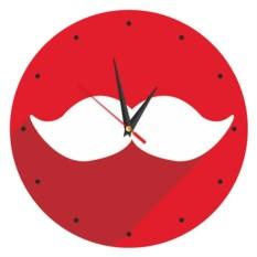 Красные часы на стену Усы