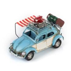 Ретро-модель Бело-голубой автомобиль с рамкой и подставкой