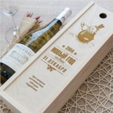 Коробка для вина с гравировкой Снеговик