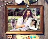 Портрет по фото Девушка с енотом