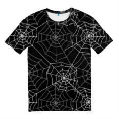 Черная мужская футболка Паутинка