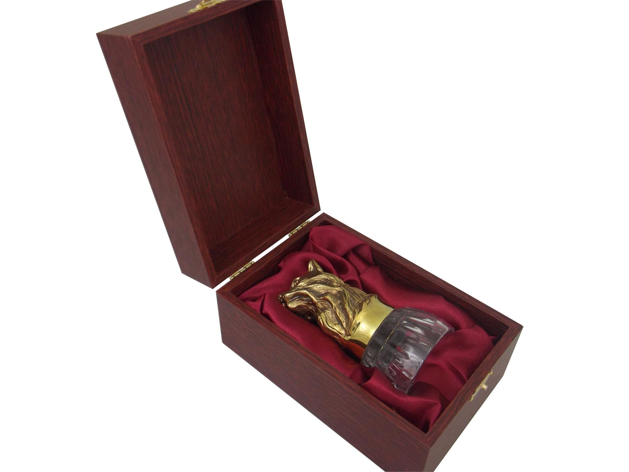 Стопка-перевёртыш Рысь из бронзы с хрусталём