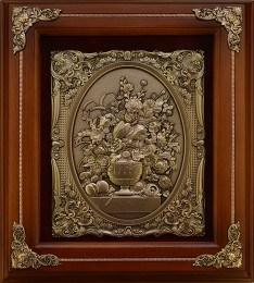 Деревянная ключница Цветы в вазе