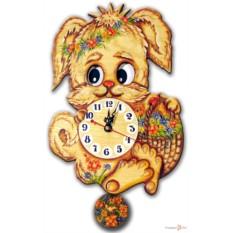 Часы настенные с маятником Собака