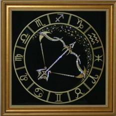 Картина с кристаллами Swarovski Стрелец Золото