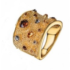 Позолоченное кольцо с кристаллами Viennois