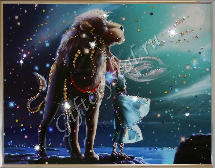Картина из кристаллов Swarovski Лев Кагая