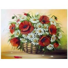 Картины по номерам «Маки и ромашки»