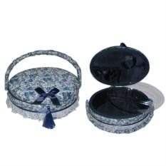 Крулая шкатулка для рукоделия с подносом, размер 24х18х11 см