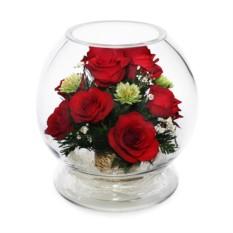 Цветочная композиция из натуральных роз