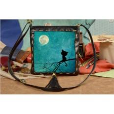 Женская сумка-планшет с принтом Котенок и луна