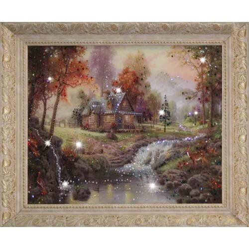Картина с кристаллами Swarovski Домик в лесу