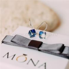 Серьги «Миражи» с синими кристаллами Сваровски