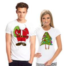 Новогодние парные футболки Дед Мороз и елочка