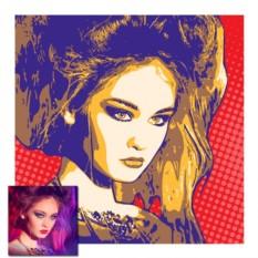 Портрет в стиле поп-арт из 2-х цветов