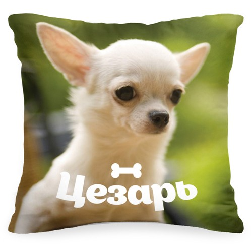 Подушка с фото и именем вашей собаки «Домашний любимец»