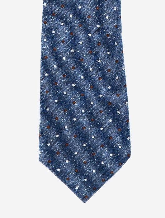 Голубой галстук в белую и красную крапинку