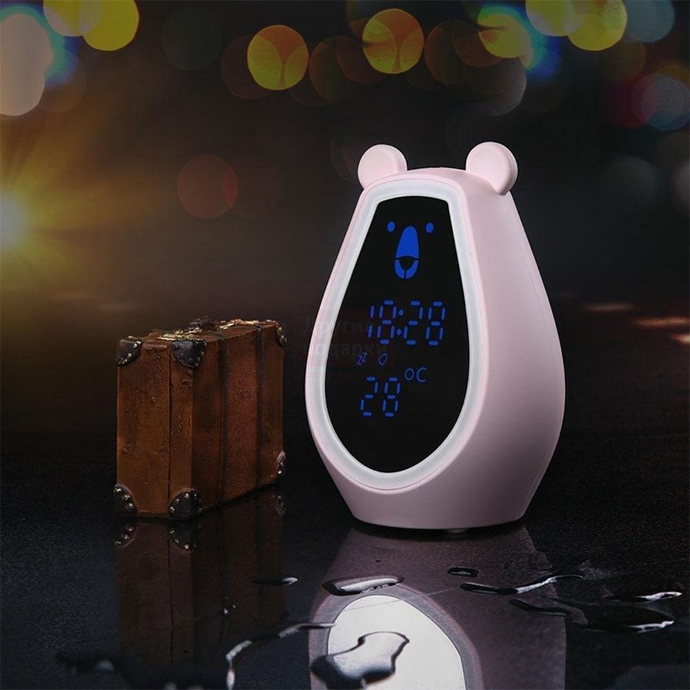 Часы будильник Мишка с зеркалом и подсветкой