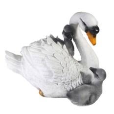 Декоративная фигурка для сада Лебедь с птенцами