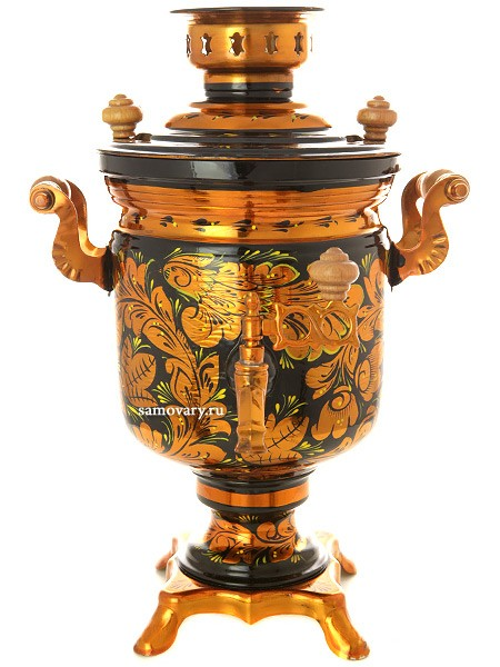 Электрический самовар 3 литра с росписью Золотая хохлома