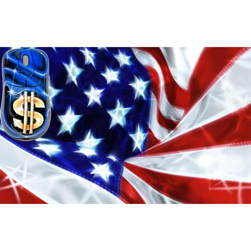 Мышь расписная «США» + коврик