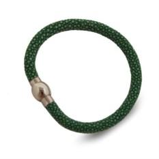 Женский зеленый браслет из натуральной кожи морского ската