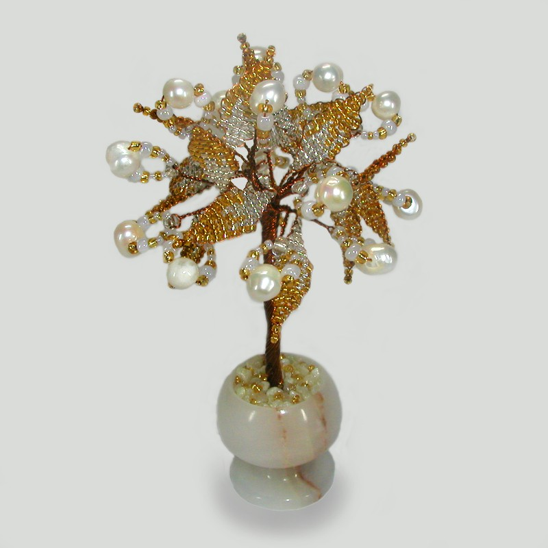 Миниатюрное дерево любви из белого жемчуга в вазе из оникса