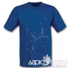 Синяя мужская футболка Маленький Принц на планете