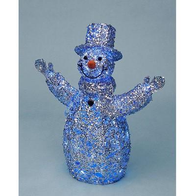 Снеговик блестящий серебряный с белыми LED огнями