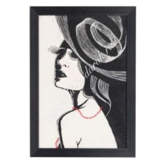 Рисунок из каменной крошки в багете Девушка в шляпке