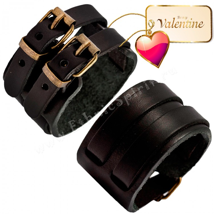 Пара кожаных браслетов Для Неё и для Него, с Любовью...
