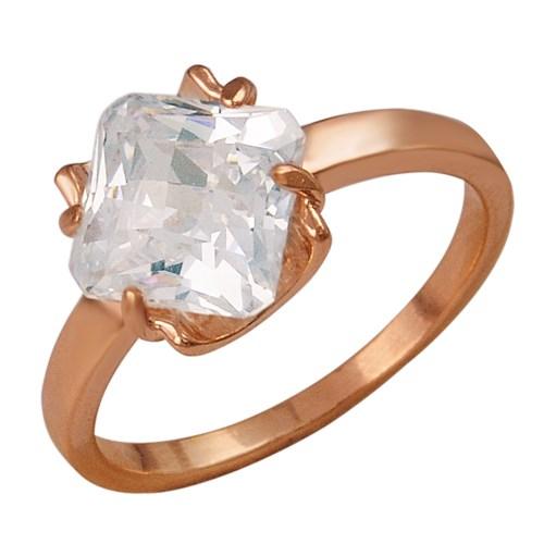 Позолоченное кольцо с крупным фианитом