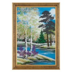 Картина Весенний пейзаж в багете из гипса (20х30 см)
