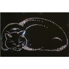 Картина с кристаллами Сваровски Киска
