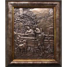 Картина из металла Охотник с собакой