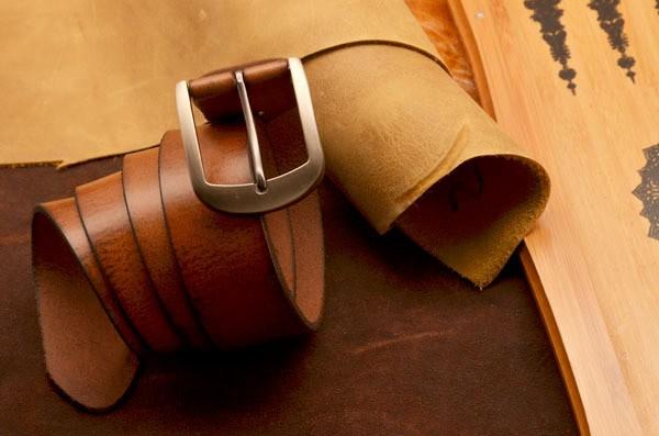 Ремень ВВ1 из натуральной кожи в стиле коричневый винтаж